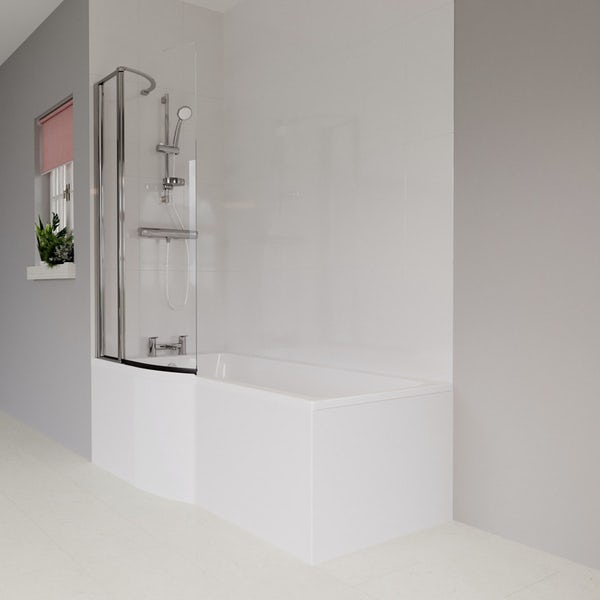 Ideal Standard Concept Air complete wood light grey furniture and left hand shower bath suite 1700 x 800