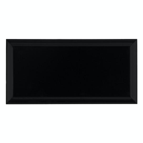 Deep Metro black bevelled gloss wall tile 100mm x 200mm