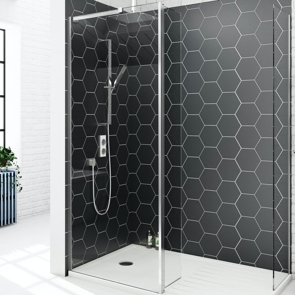 SmarTap white smart shower system with Mode 8mm walk in enclosure pack