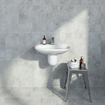 British Ceramic Tile Metropolis mid grey matt tile 248mm x 498mm