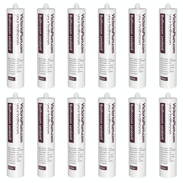 Pack of 12 Bathroom sealant - clear