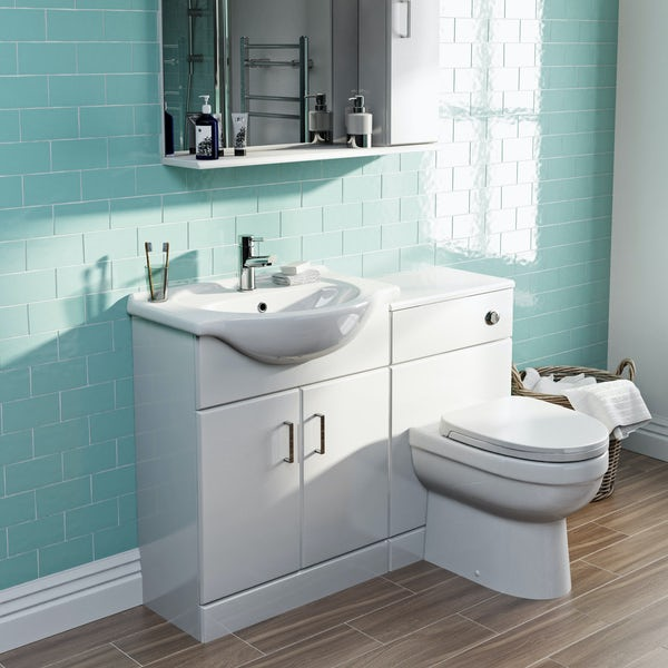 Orchard Eden white 1155mm combination with Eden back to wall toilet and soft close seat