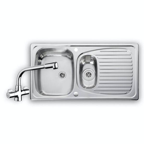 Leisure Euroline 1.5 bowl reversible kitchen sink with kitchen tap