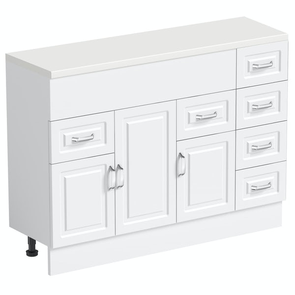 Orchard Florence white 850mm, multi drawer unit & plinth with white top