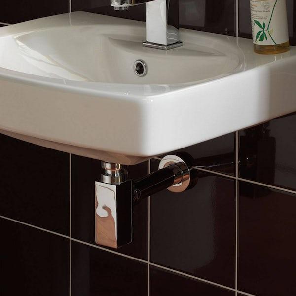 Wall hung basin chrome square bottle trap