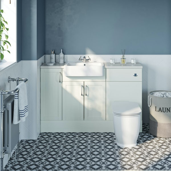 The Bath Co. Newbury white small fitted furniture combination with white marble worktop