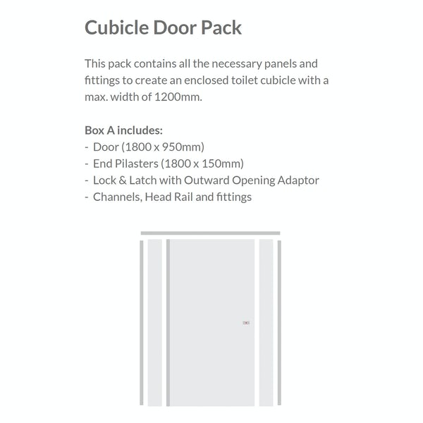 Pendle white toilet cubicle door pack with white pilasters