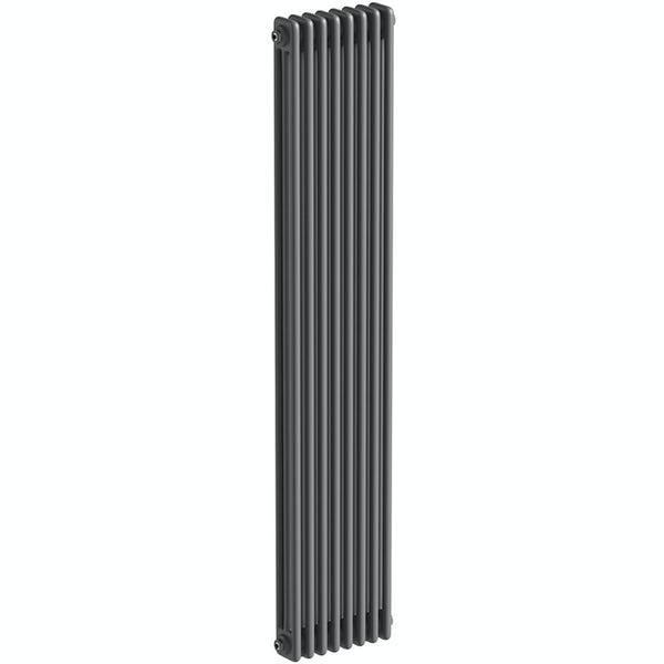 The Heating Co. Corso anthracite grey tall 3 column radiator