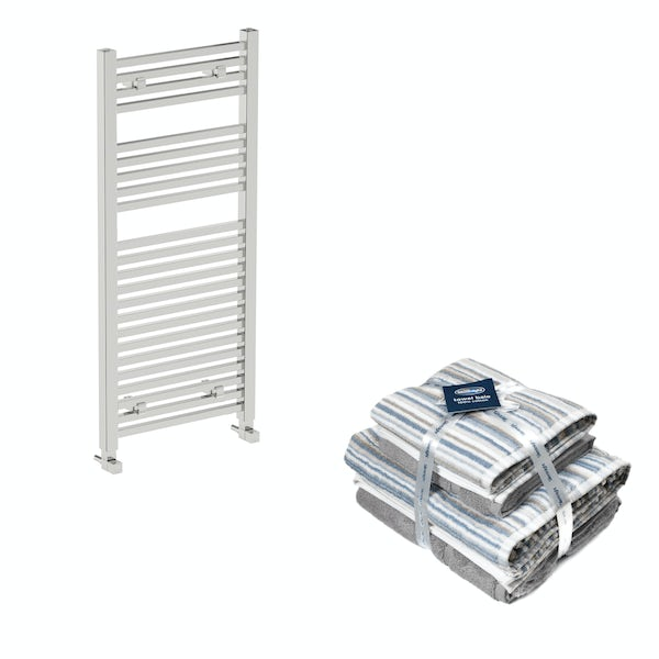 Orchard Wye chrome heated towel rail 1200x490 with Silentnight Zero twist grey 4 piece towel bale