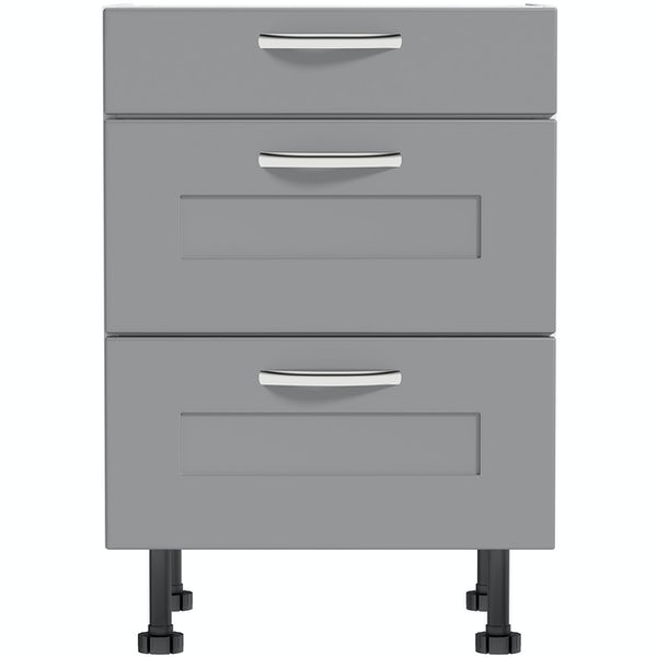 Schön New England light grey shaker 3 drawer unit