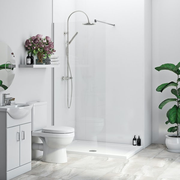 Multipanel Economy Snow Drift shower wall single panel 1000mm