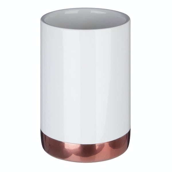Delta stoneware white and copper tumbler