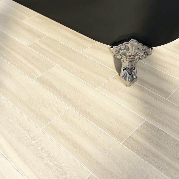 British Ceramic Tile Bark natural wood effect beige matt tile 148mm x 498mm