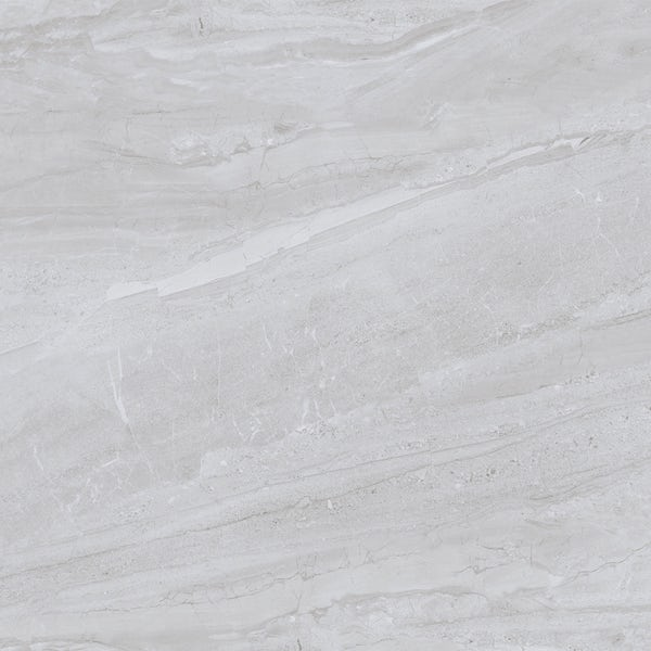 Comet mid grey marble effect gloss wall and floor tile 800mm x 800mm