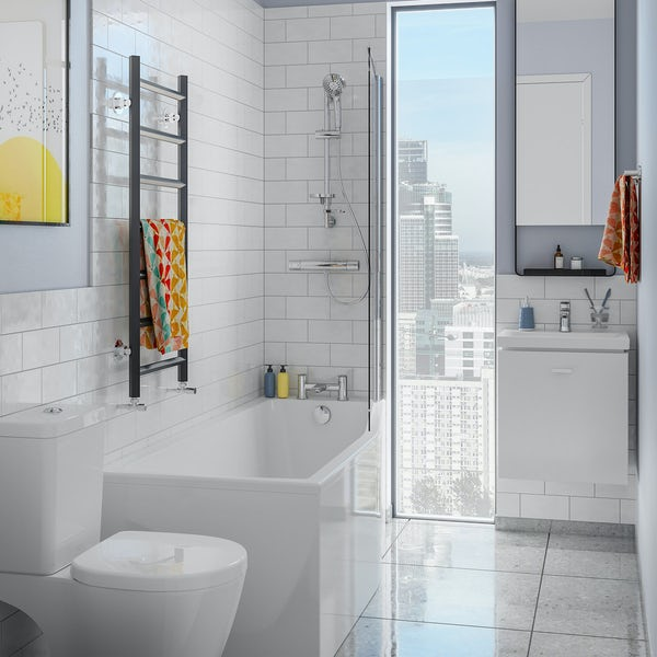 Ideal Standard Concept Space white complete right handed shower bath suite with shower, bath screen, taps, panel and waste 1700 x 700