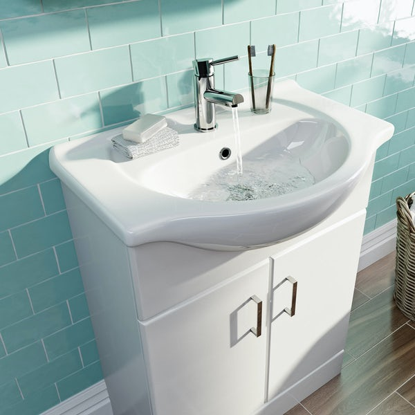 Eden white vanity unit and basin 650mm
