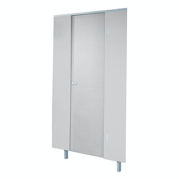 Pendle plain grey toilet cubicle door pack with plain grey pilasters