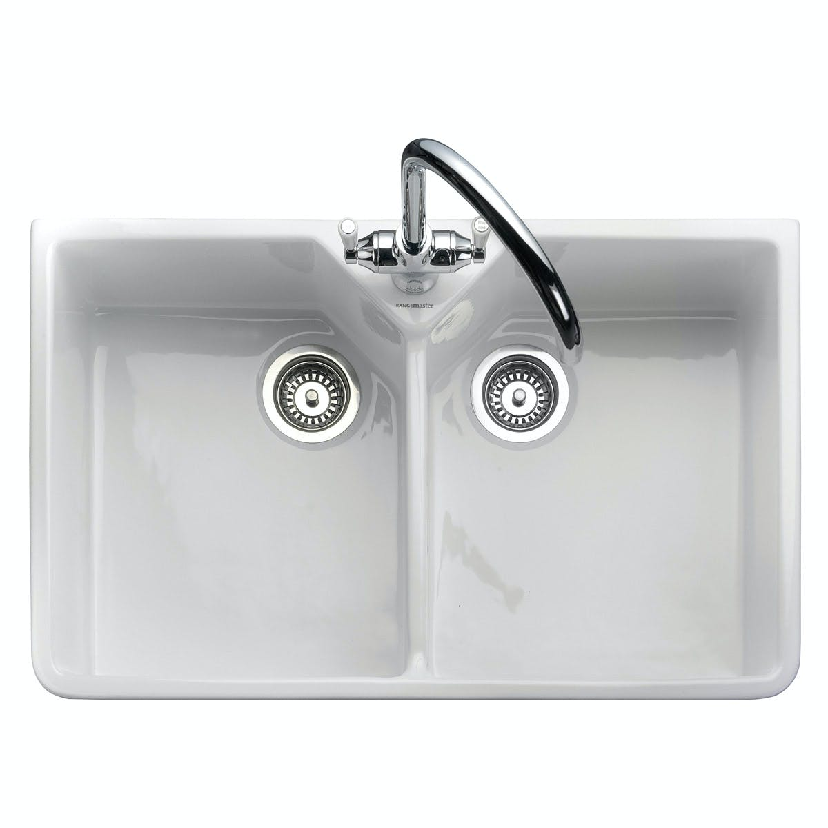 Picture of: Rangemaster Double Bowl Belfast 2 Bowl Ceramic Kitchen Sink