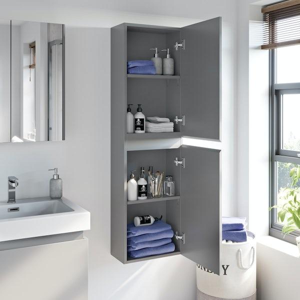 Mode Hardy slate matt grey wall hung cabinet 1400 x 330mm