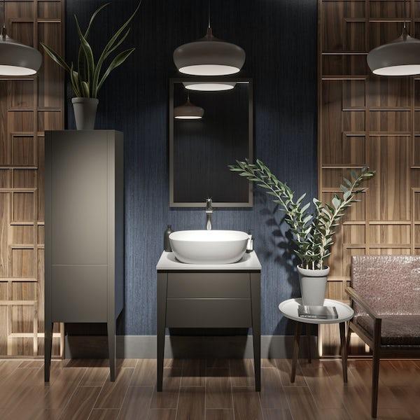 Mode Hale grey-stone matte bathroom mirror 850 x 550mm