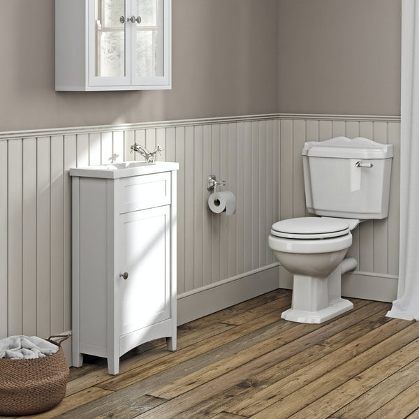The Bath Co.Camberleywhite cloakroom unit with Traditional close coupled toilet with tap and waste