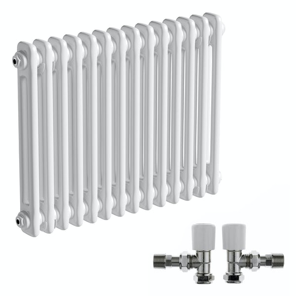The Bath Co. Camberley white 2 column radiator 500 x 654 with angled valves