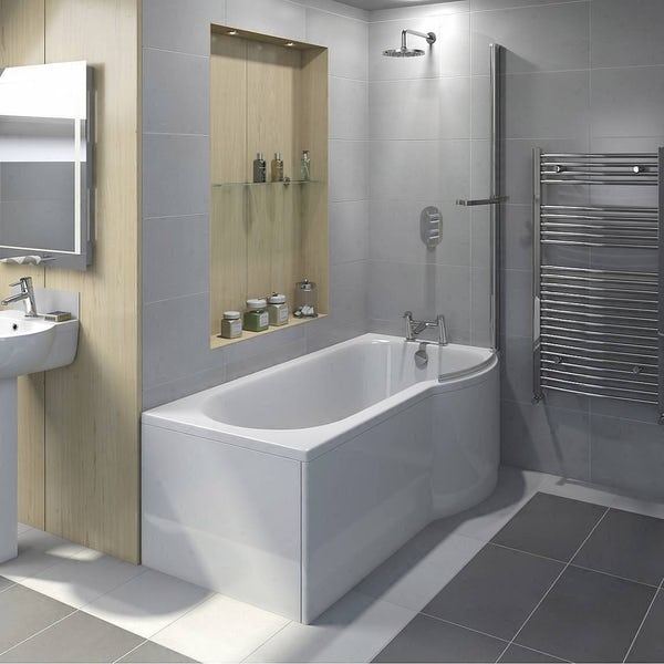 Evesham Shower Bath Screen with Towel Rail