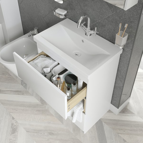 Mode Tate II white & oak furniture package with floorstanding vanity unit 600mm