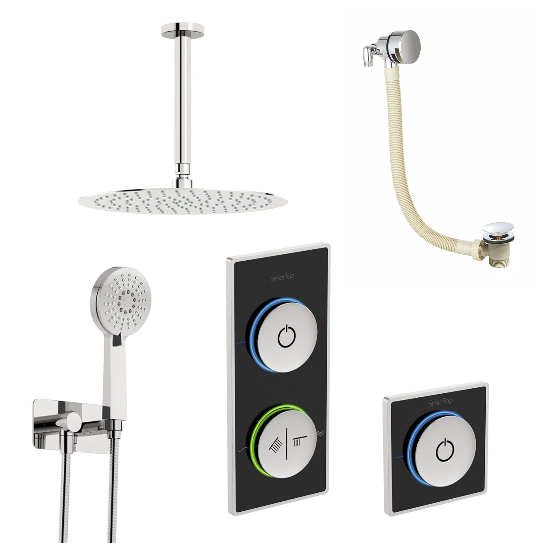 SmarTap black smart shower system with complete round ceiling shower outlet bath set