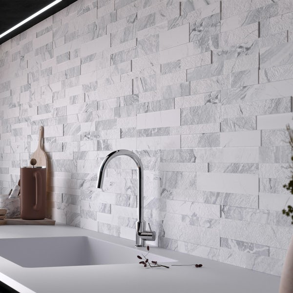 Bolsena white split face stone effect matt wall tile 150mm x 610mm