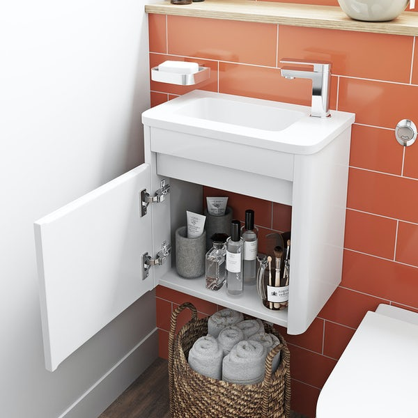 Mode De Gale white cloakroom wall hung vanity unit and right hand basin 410mm