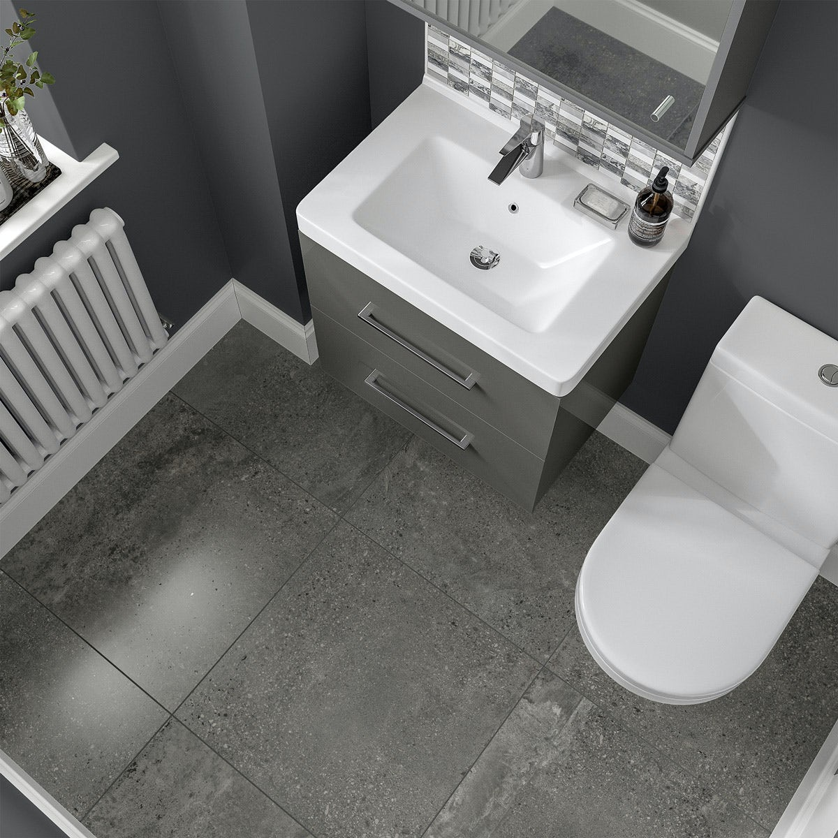 Michigan Dark Grey Stone Effect Matt Wall And Floor Tile 600mm X 600mm  VictoriaPlum.com