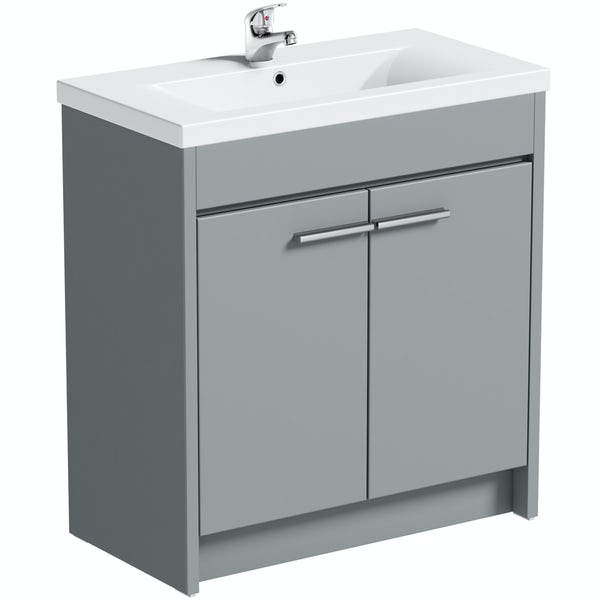 Clarity satin grey floorstanding vanity unit and ceramic basin 760mm with tap