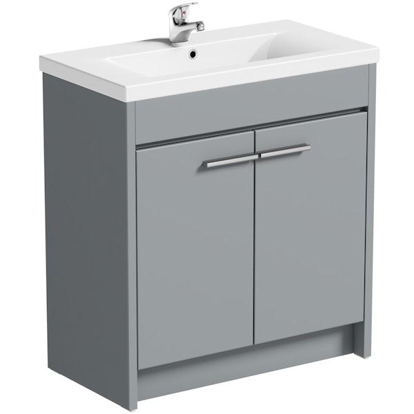 Clarity satin grey vanity unit and basin 760mm