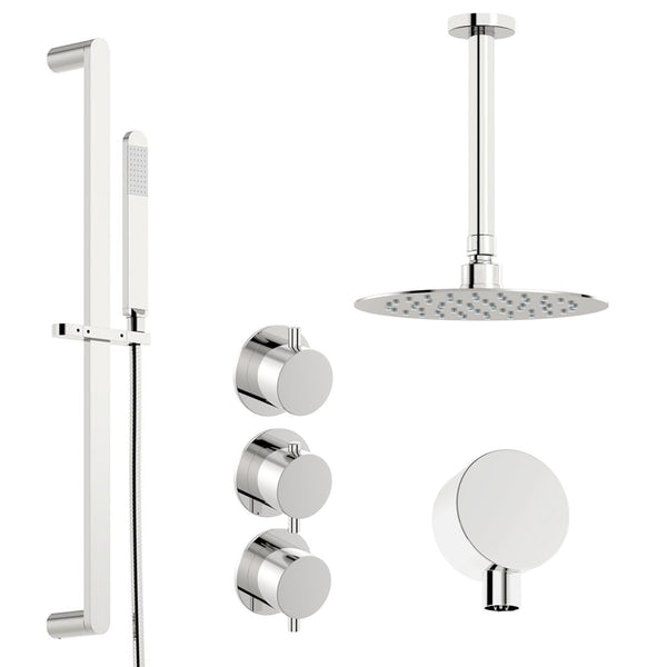 Mode Hardy thermostatic shower valve with slider rail and ceiling shower set