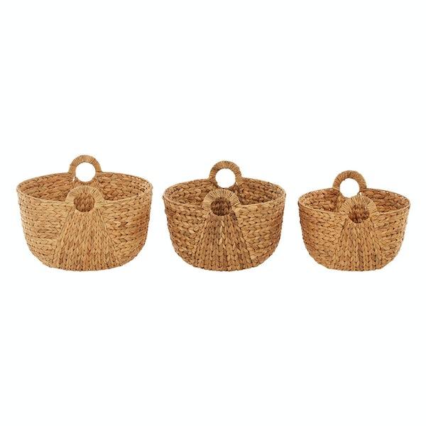 Set of 3 fish bone weave water hyacinth storage baskets with handles