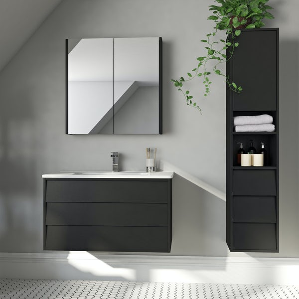 Mode Cooper anthracite black furniture package with vanity unit 800mm