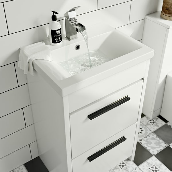 Clarity close coupled toilet and white vanity unit suite 510mm and black handles