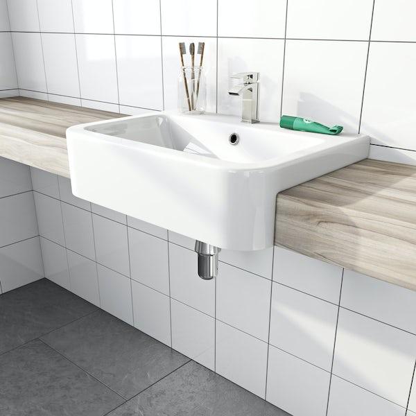 The Bath Co. Dulwich 1 tap hole semi recessed countertop basin 565mm