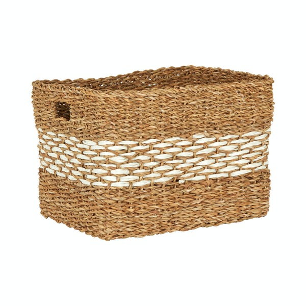Rectangular natural and white seagrass basket