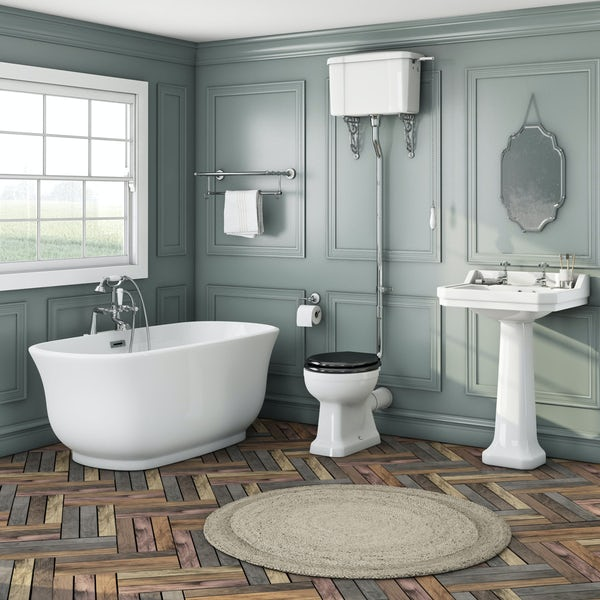 The Bath Co. Camberley high level black suite with freestanding slipper bath
