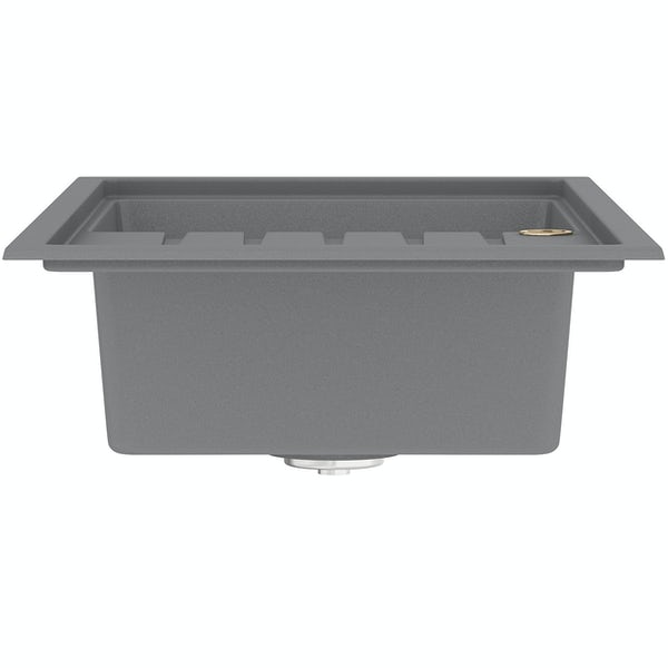 Bristan Gallery quartz right handed dawn grey easyfit 1.0 bowl kitchen sink with Melba black tap