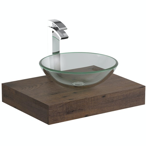 Mode Orion chestnut countertop shelf with Mackintosh basin, tap and waste