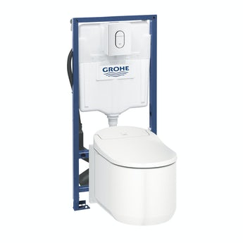 Grohe Sensia Arena smart toilet with soft close seat, rapid SL frame and Arena flush plate
