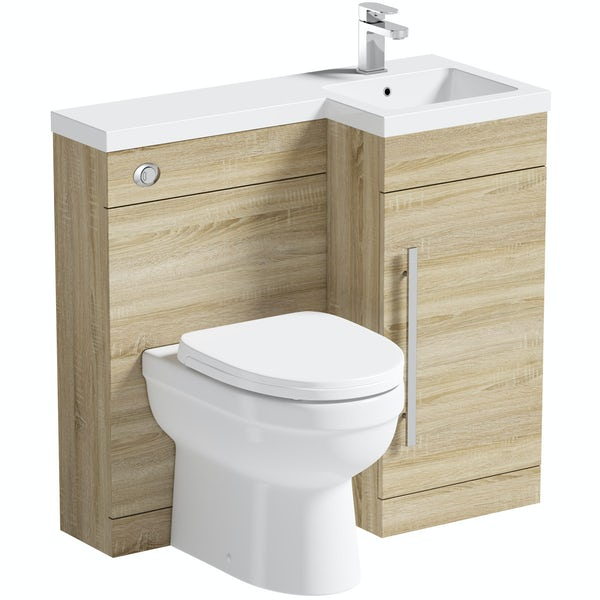 MySpace oak right handed unit with Eden back to wall toilet