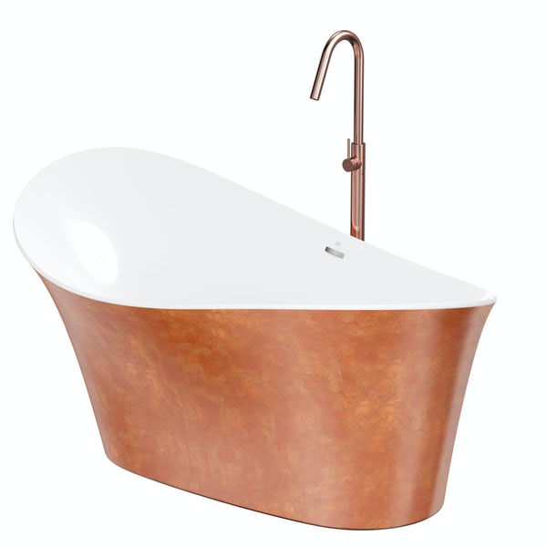 Belle de Louvain Fontana freestanding bath and tap pack with Spencer rose gold bath filler