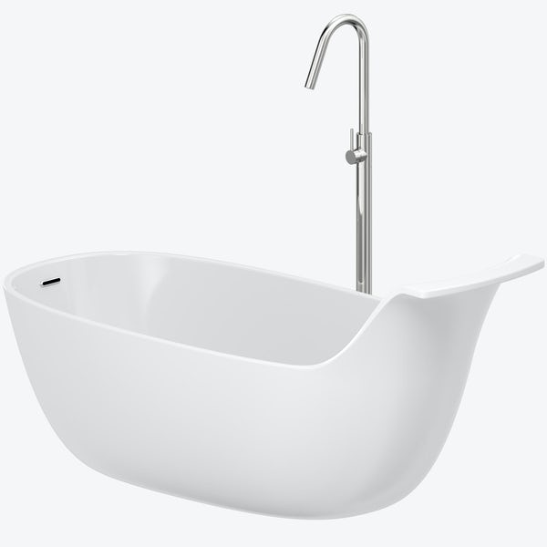 Mode Barocci solid surface freestanding bath & tap pack