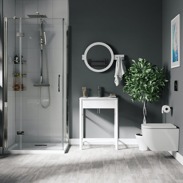 Mode South Bank white complete shower enclosure suite 900 x 900mm
