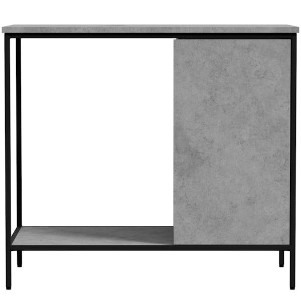 Mode Bergne dark concrete grey washstand and black steel frame 812mm