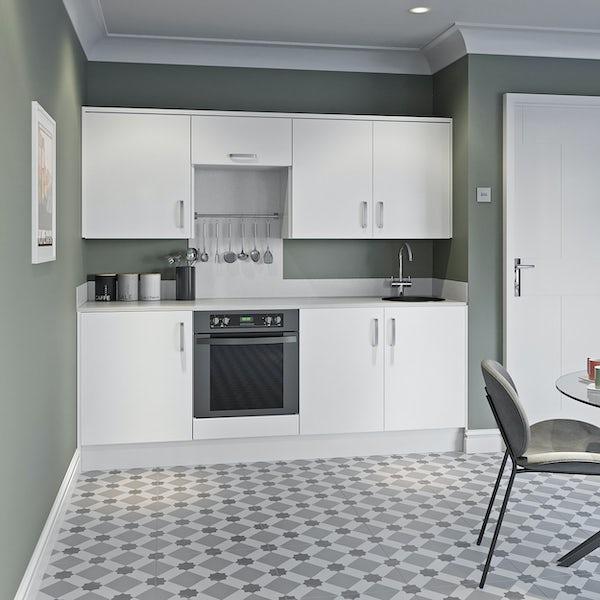 Schon Boston white slab kitchen base and wall unit bundle